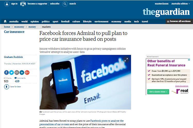 Facebook bars snooping insurance company
