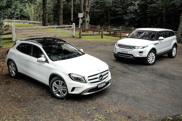 Mercedes benz gla v range rover evoque 2014 comparison for Mercedes benz suv range